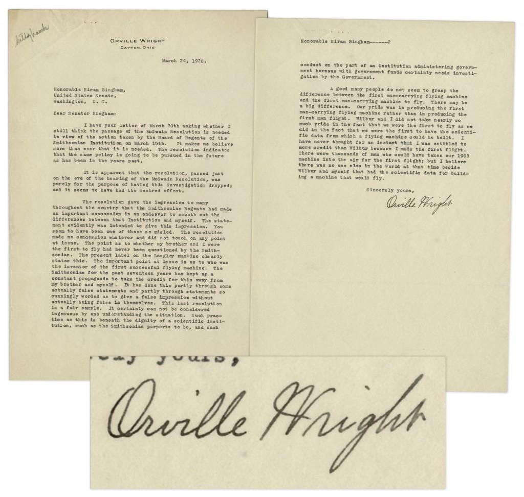 Wright Brothers Autograph Wright Brothers autograph letter