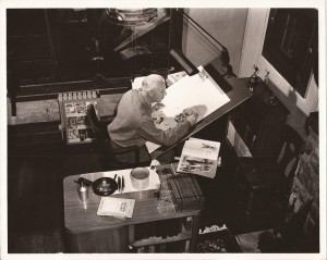 7. Foster aerial shot of him drawing a Sunday page Hal Foster Prince Valiant comic art