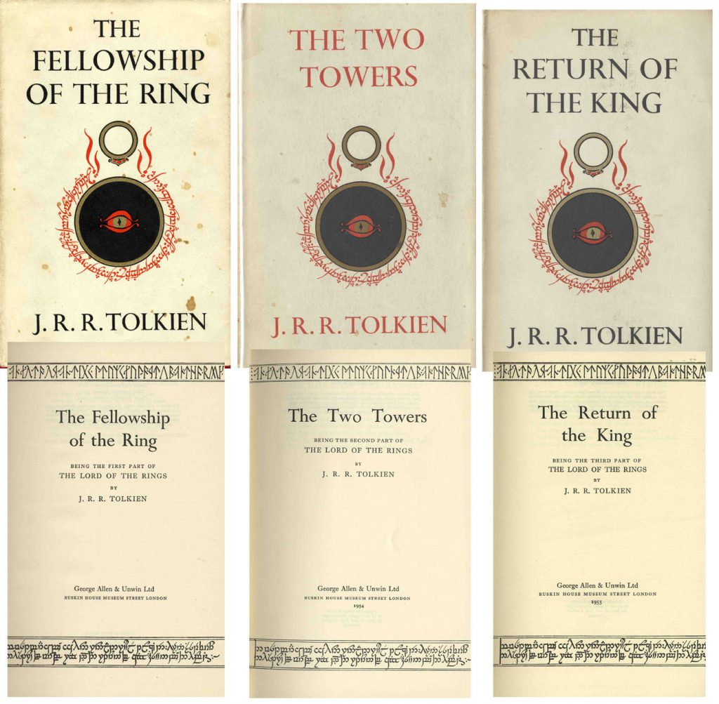 "J.R.R. Tolkien First Edition J.R.R. Tolkien's ""The Lord of the Rings"" -- Complete Three Volume Hardcover Set -- First UK Editions With Original Dustjackets -- 1954, 1955"