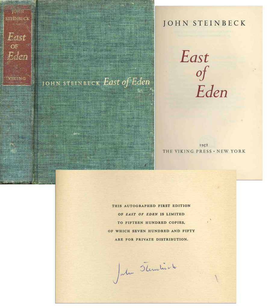 "John Steinbeck first edition John Steinbeck Signed ""East of Eden"" First Edition"