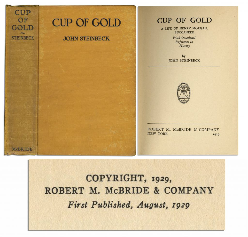 "John Steinbeck first edition Rare John Steinbeck's First Edition of First Book, ""Cup of Gold"""