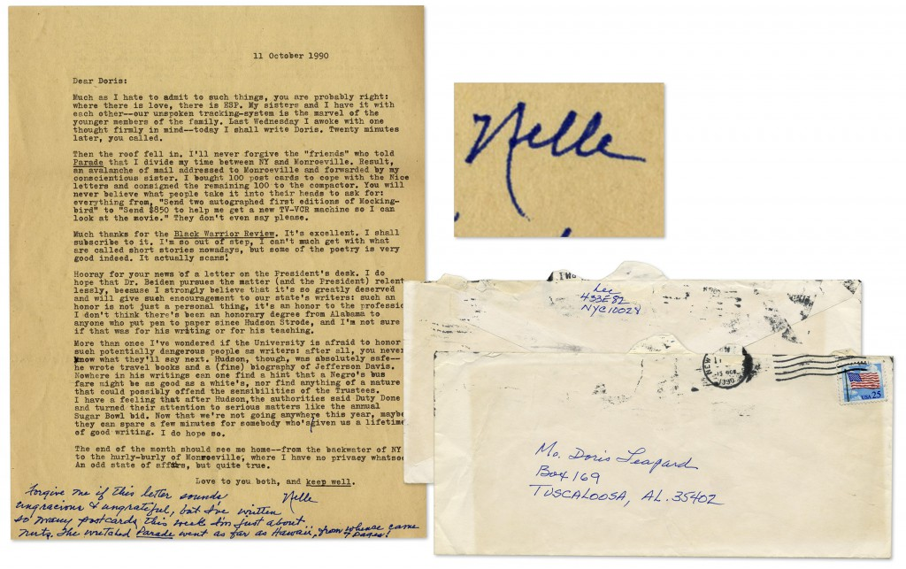 To Kill a Mockingbird First Edition Harper letter signed, with an additional autograph note signed