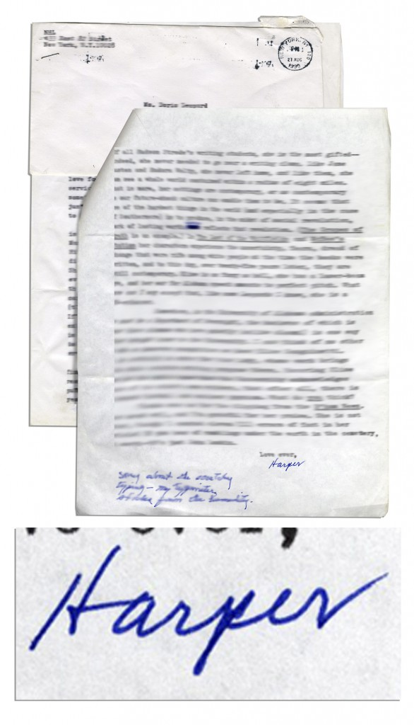 To Kill a Mockingbird First Edition Harper Lee typed letter signed, dated 25 August 1990