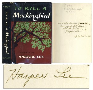 To Kill a Mockingbird First Edition ''To Kill a Mockingbird'' Signed by Harper Lee in 1960, the Year of Publication