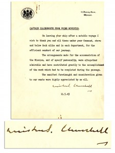 Winston Churchill Autograph 1943 Typed Letter Signed From Winston Churchill