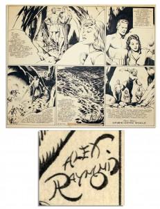 "Alex Raymond comic art Alex Raymond Flash Gordon original art Signed 1942 Sunday ""Flash Gordon"" Hand-Drawn Strip"