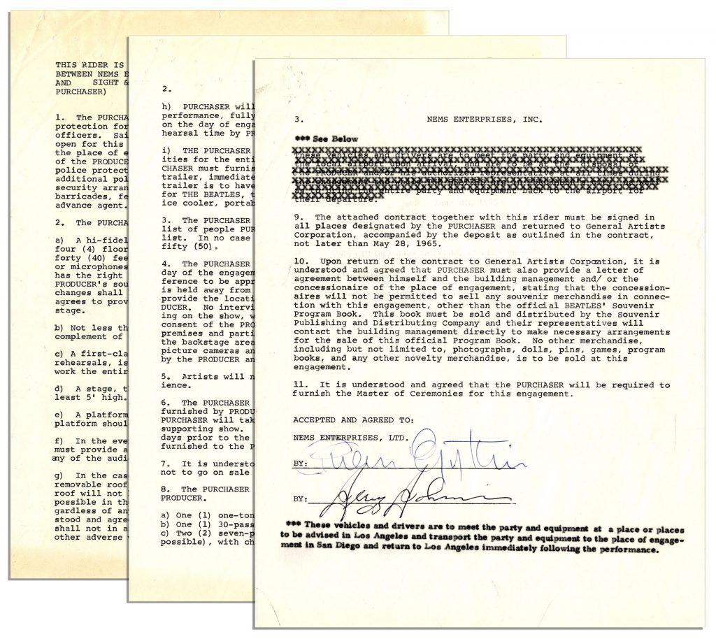 Beatles memorabilia Beatles Contract Rider for Their 1965 San Diego Concert Signed by Brian Epstein -- The Beatles Refuse to Play Before a Segregated Audience