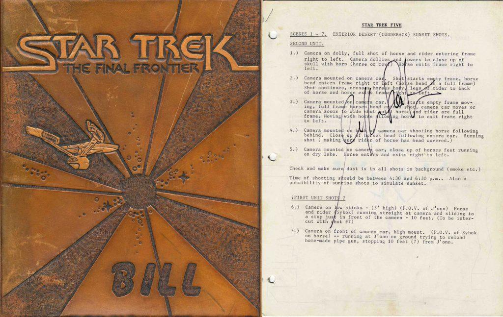 """Star Trek memorabilia auction William Shatner's personal script for """"Star Trek V: The Final Frontier"""""""