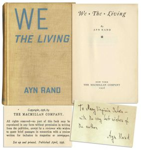 "Ayn Rand first edition Ayn Rand ""We the Living"" 1st Edition. Signed"