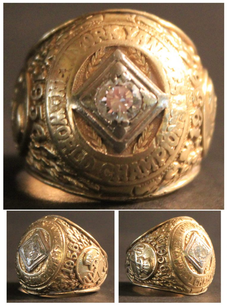 World Series Ring Auction Exceedingly Rare 1956 World Series Championship Ring Owned by Yankees Pitcher Tom Sturdivant -- 14K Gold With Large Diamond -- With LOA From Sturdivant's Wife