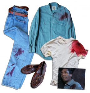"Terminator Costumes Joe Morton ""Terminator 2: Judgment Day"" Gunshot Costume -- With Distressed Levi's Jeans, Banana Republic Shirt & Shoes"