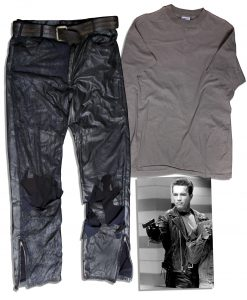 "Terminator Costumes Arnold Schwarzenegger ""Terminator 2: Judgment Day"" Iconic Biker Pants Costume"