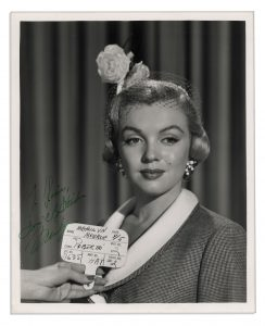 """Marilyn Monroe dress auction Marilyn Monroe 8"""" x 10"""" Signed Photo -- Close-up Image of Monroe for Her Role as """"Roberta"""" in the 1951 Film, """"Love Nest"""""""