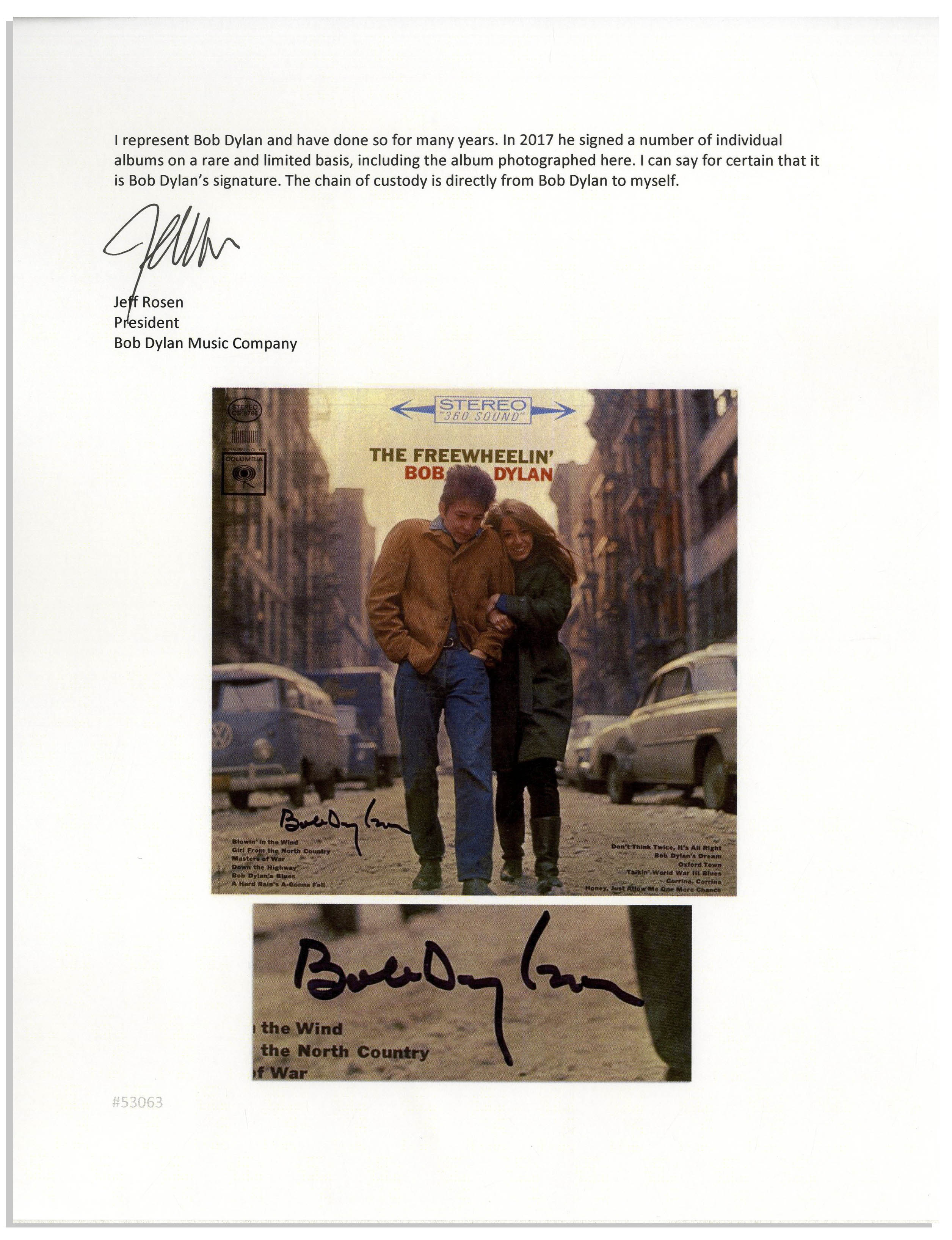 Buy a Bob Dylan Autograph on a Classic LP Direct from Bob