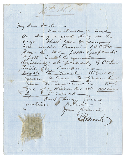 Elmer Ellsworth Autograph