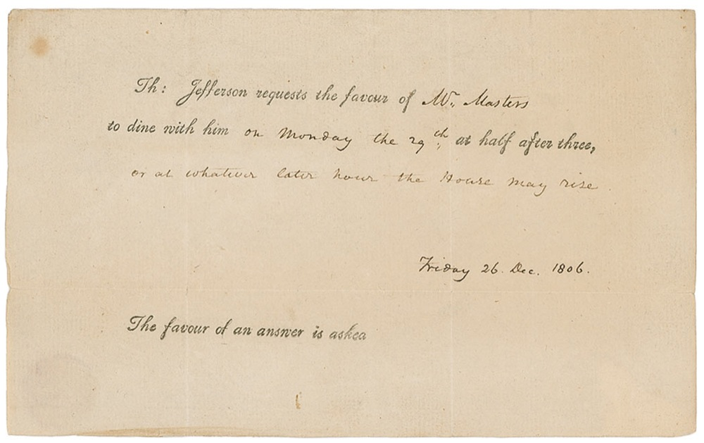 Thomas Jefferson Invitation