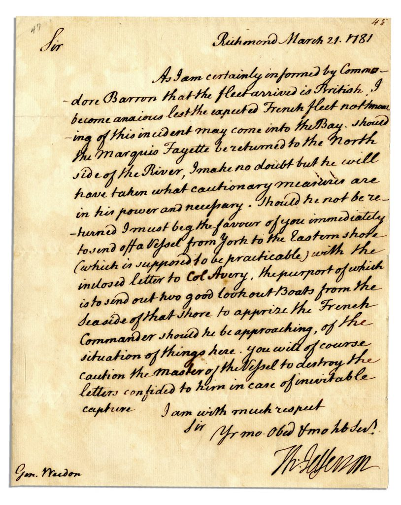 Thomas Jefferson Letter Sells For 226 871 At Natedsanders Com