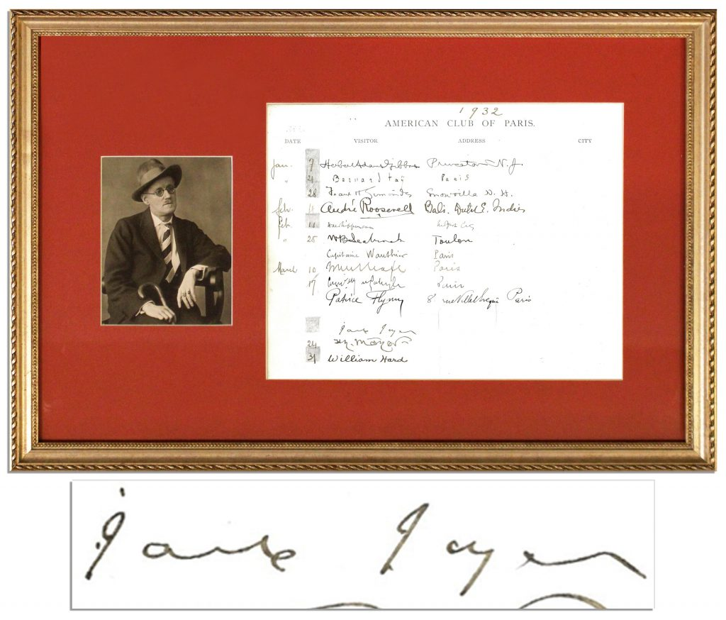 James Joyce Autograph