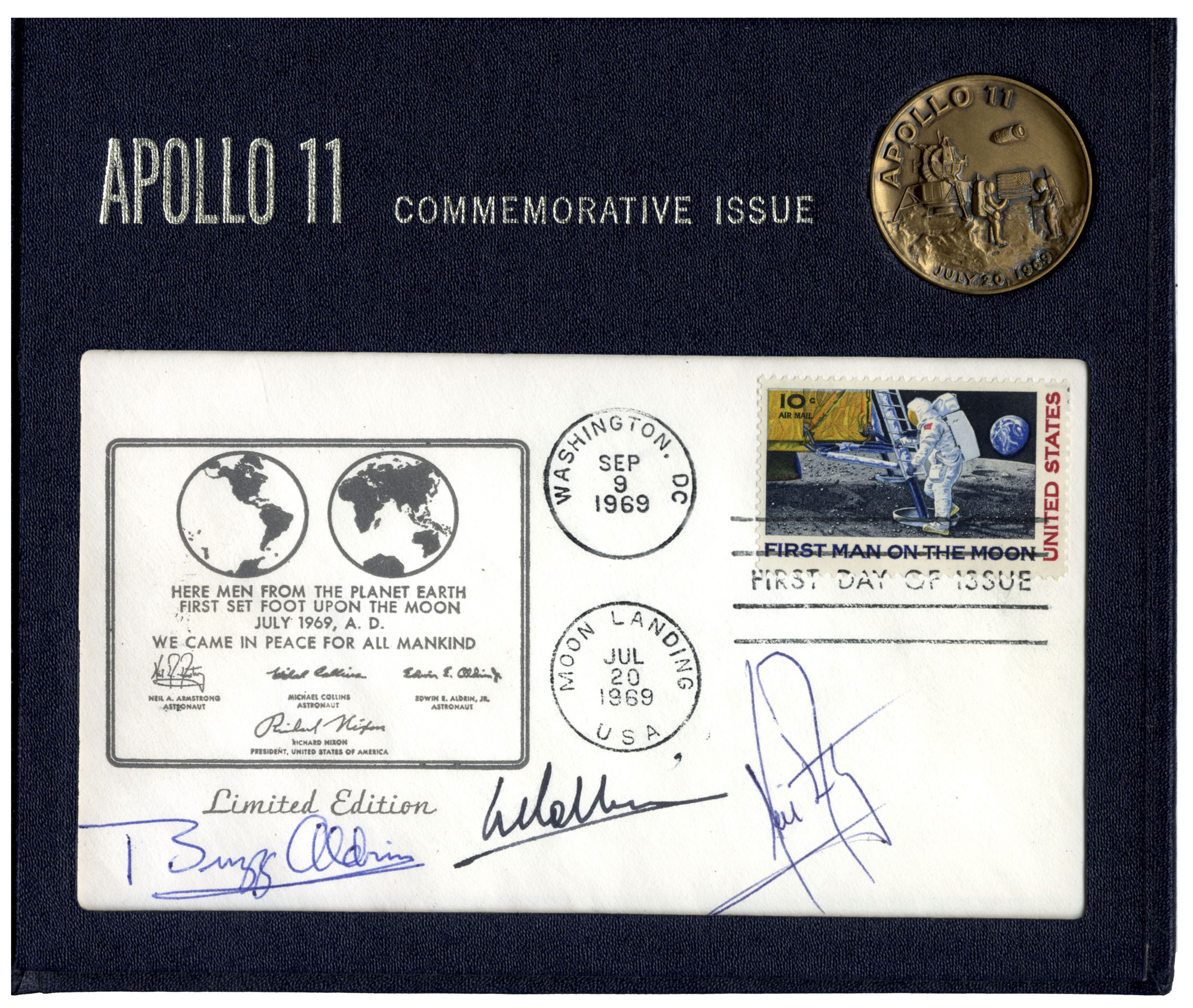 1969 FIRST DAY COVER 4 FIRST MAN ON MOON STAMPS ROCKET LIFTOFF APOLLO 11