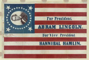 Abraham Lincoln flag banner Abraham Lincoln presidency campaign banner. By H. C. Howard [Public domain], via Wikimedia Commons