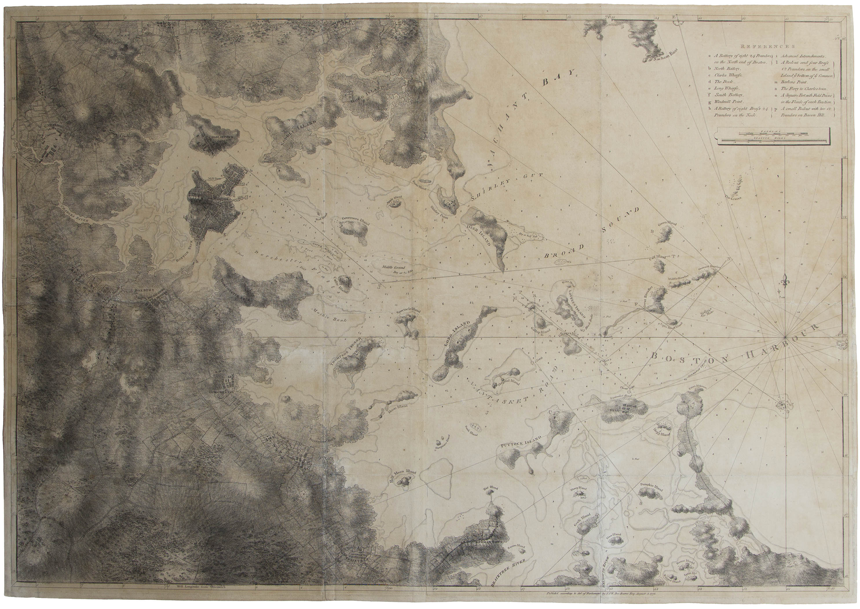 DesBarres Revolutionary War Map of Boston Harbor for Auction NDS on map of boston streets during the revolution, map of boston rhode island, map of boston scotland, map of boston 1776, map of boston 17th century, map of boston during the boston massacre, map of boston art, map of boston united states, map of boston massachusetts, map of boston colonial, map of boston england, map of boston 1800s, map of boston cemeteries, map of revolutionary battles, map of patriot during american revolution victory,