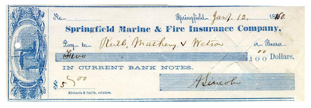 signed Millard Fillmore check