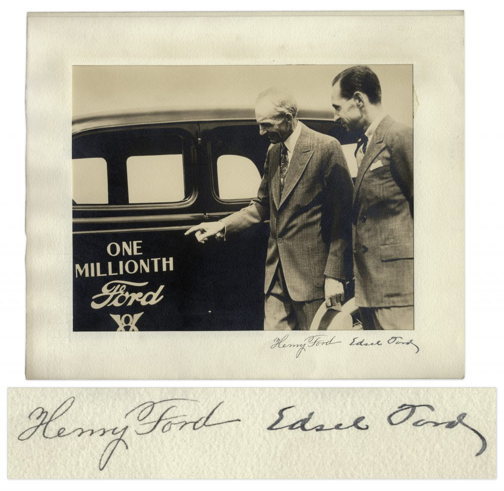 Edsel Ford & Henry Ford autograph