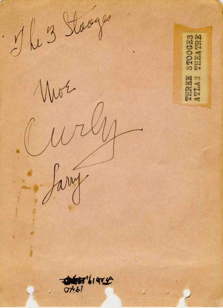 Curly Howard autograph Three Stooges autographs