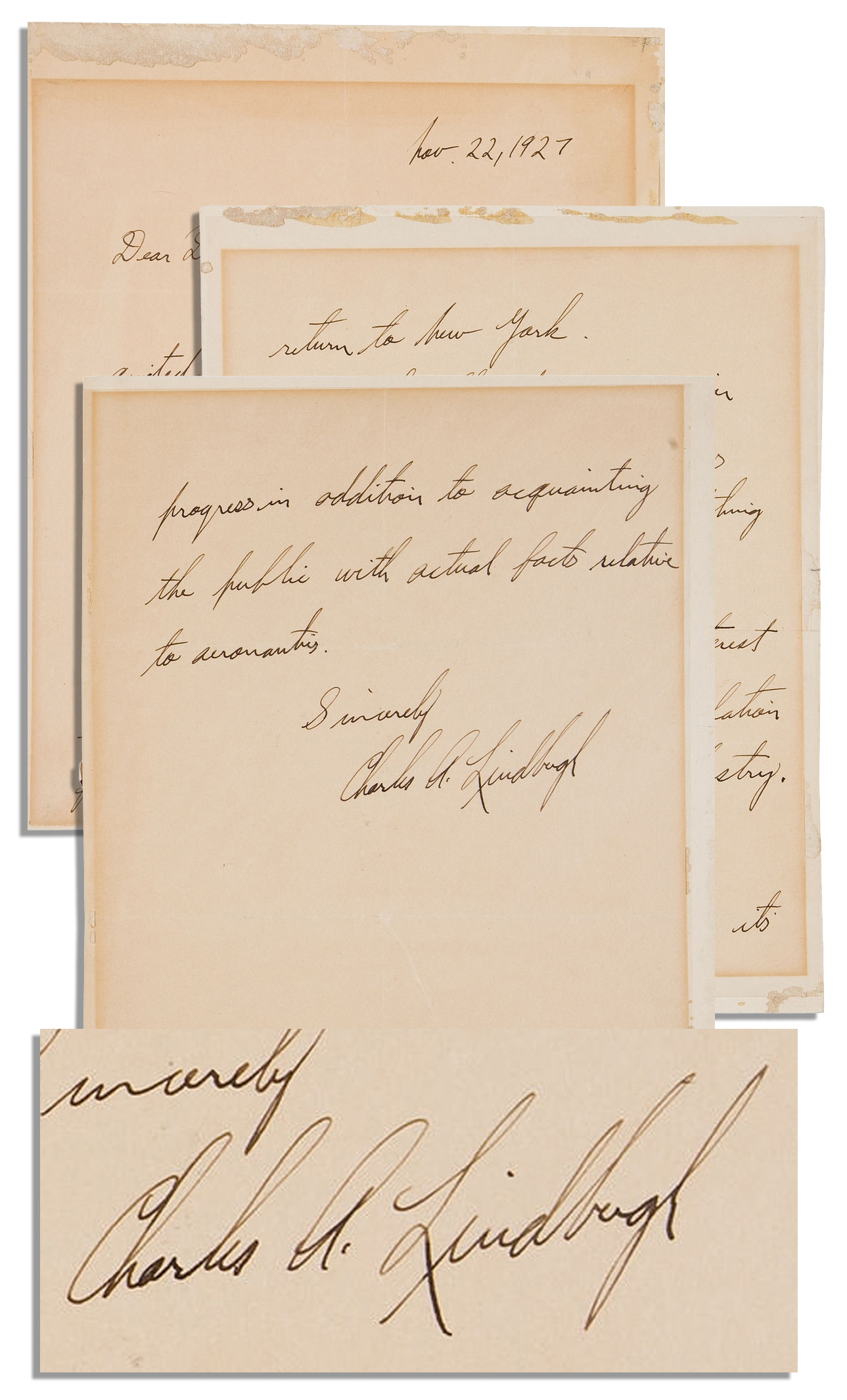 Public Auctions Near Me >> Sell Your Charles Lindbergh Autograph at Nate D. Sanders ...