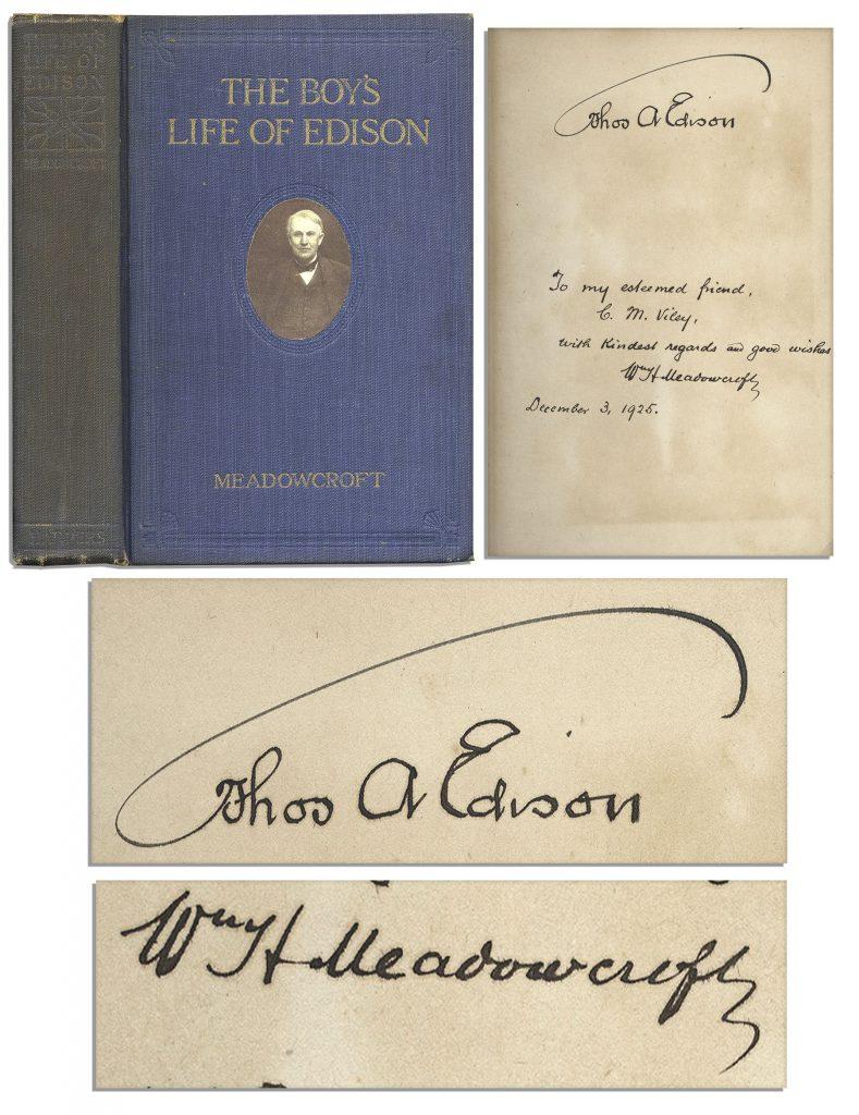 Thomas Edison A Boy's Life signed