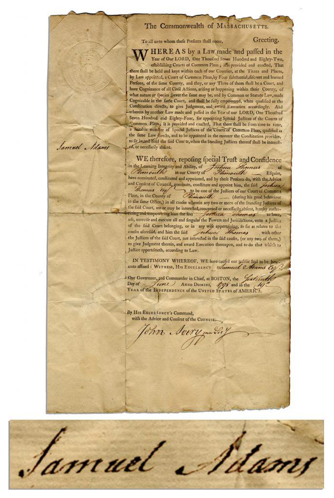 Samuel Adams autograph