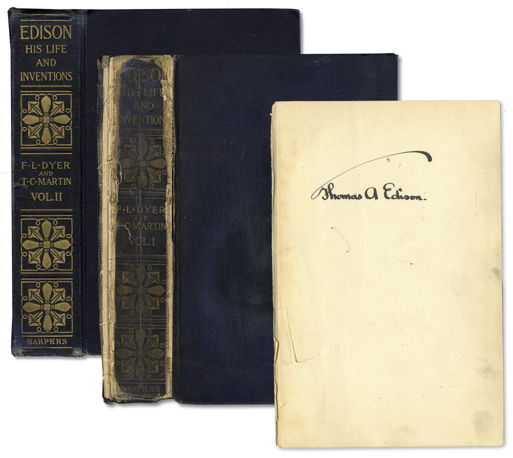 Thomas Edison His Life And Inventions signed