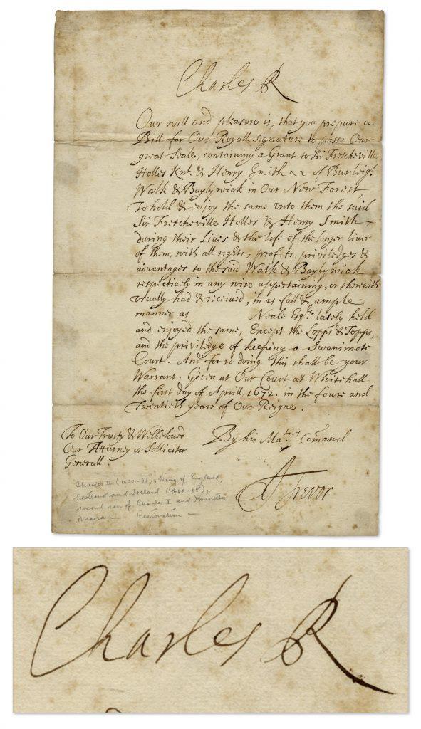 King Charles II autograph