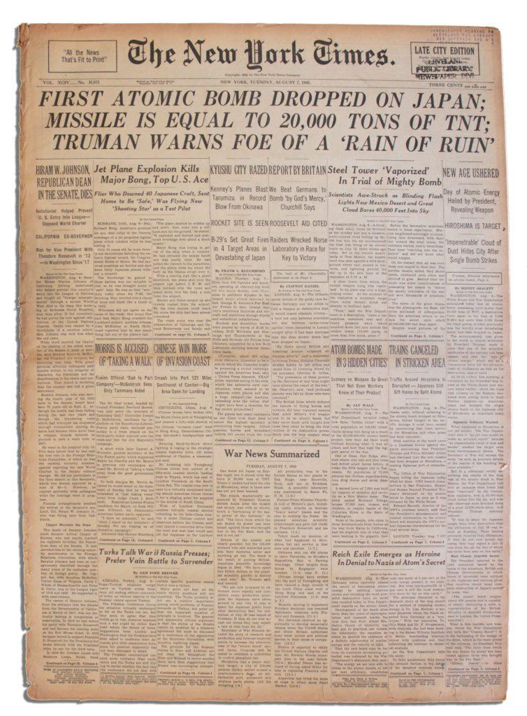 Hiroshima newspaper
