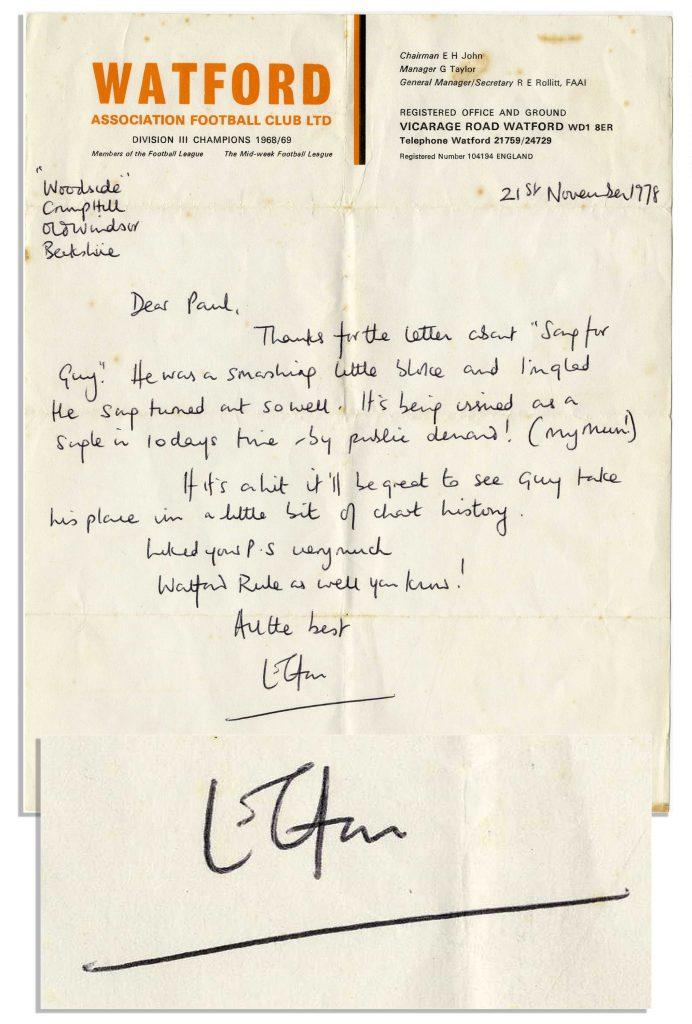 Elton John autograph