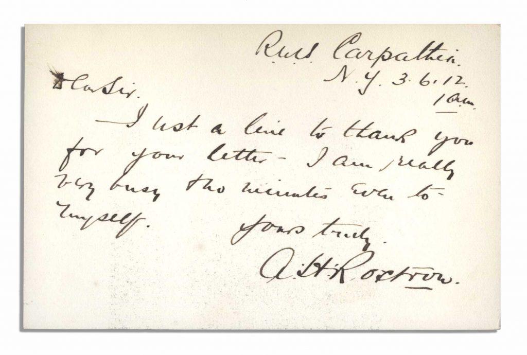 Arthur Rostron autograph