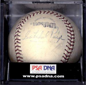 Satchel Paige signed baseball single signed
