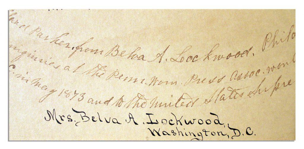 Belva Ann Lockwood autograph