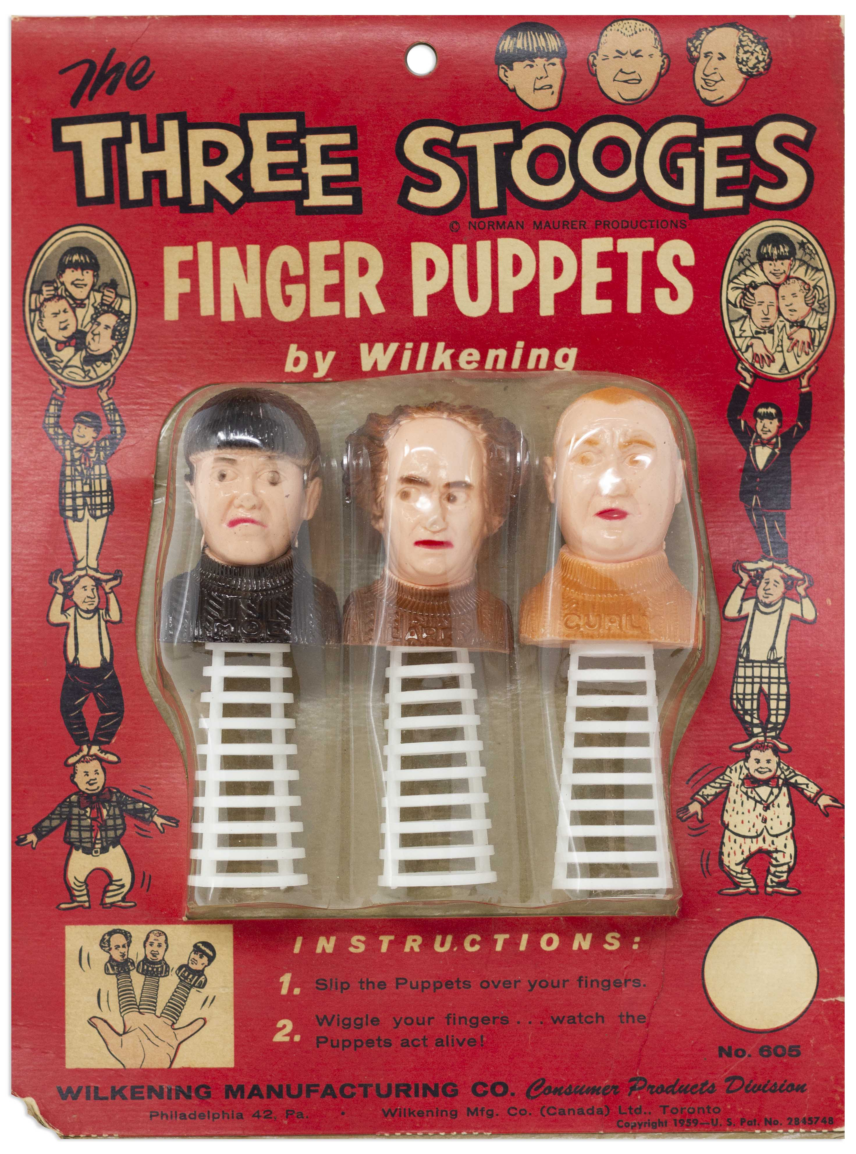 3 Three Stooges Puppets w Curly Howard at Auction at Nate D