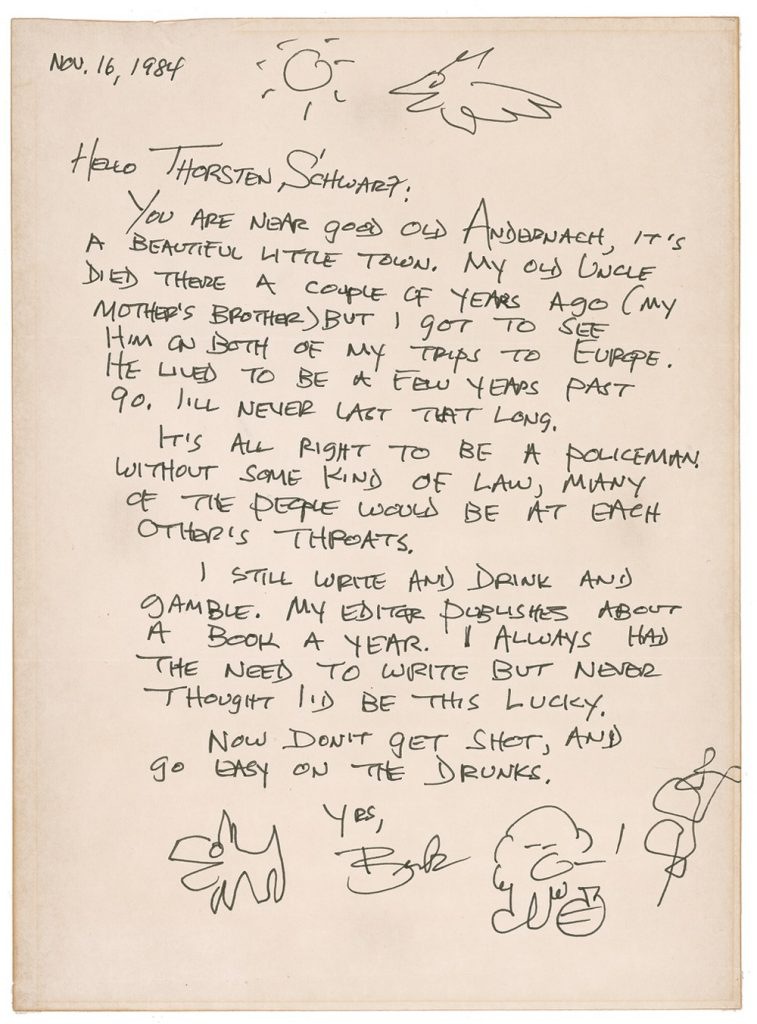 Charles Bukowski Autograph