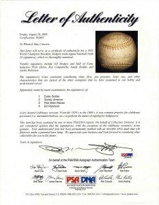 1955 Brooklyn Dodgers Autograph