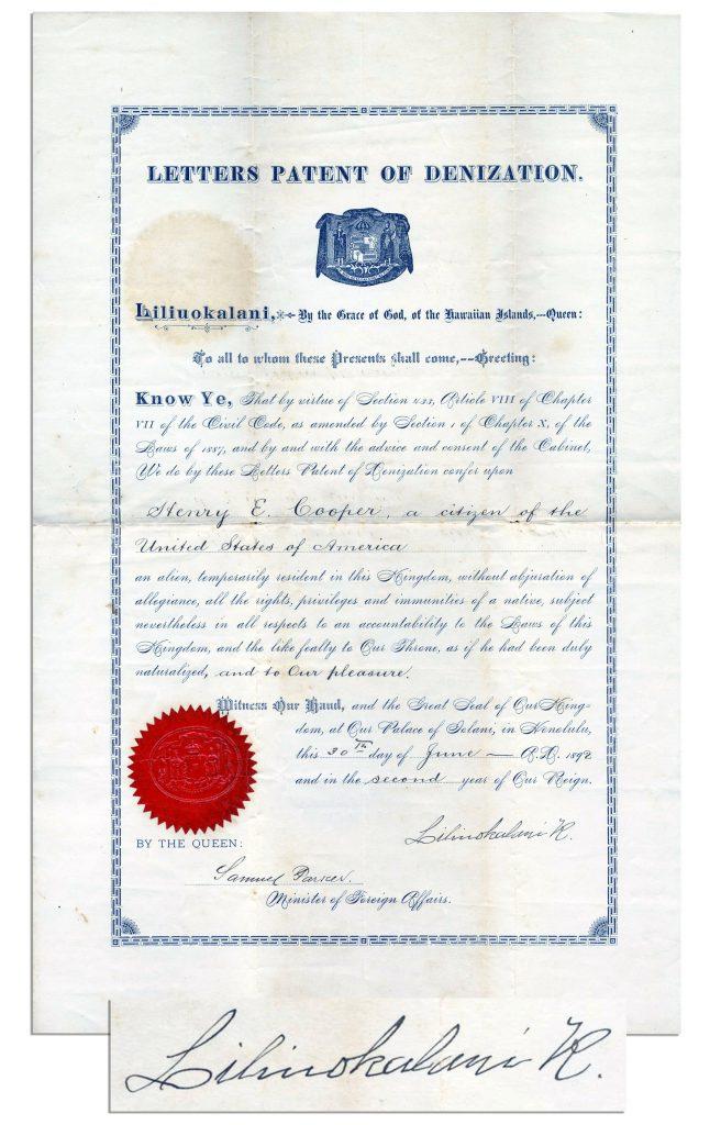 Queen Liliuokalani Autograph
