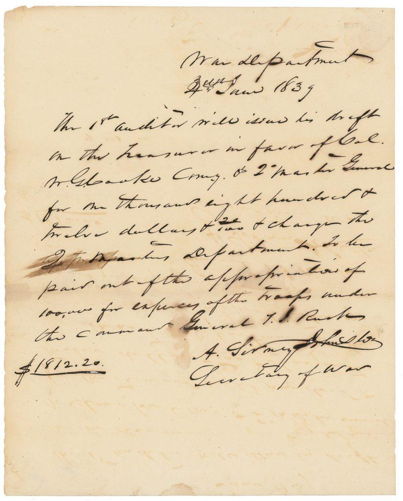Albert Sidney Johnston Autograph