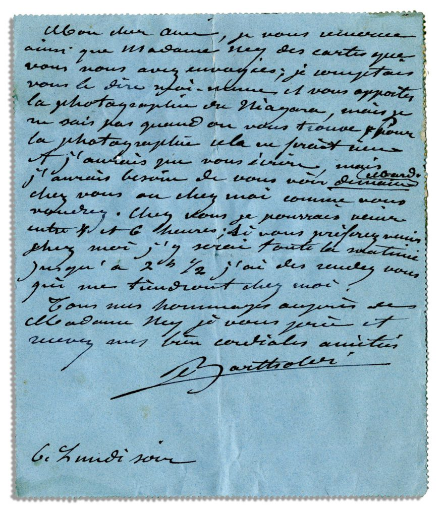 Frederic Auguste Bartholdi autograph