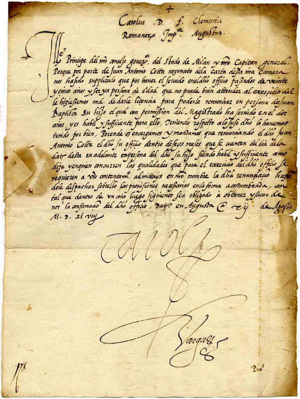 Charles V autograph