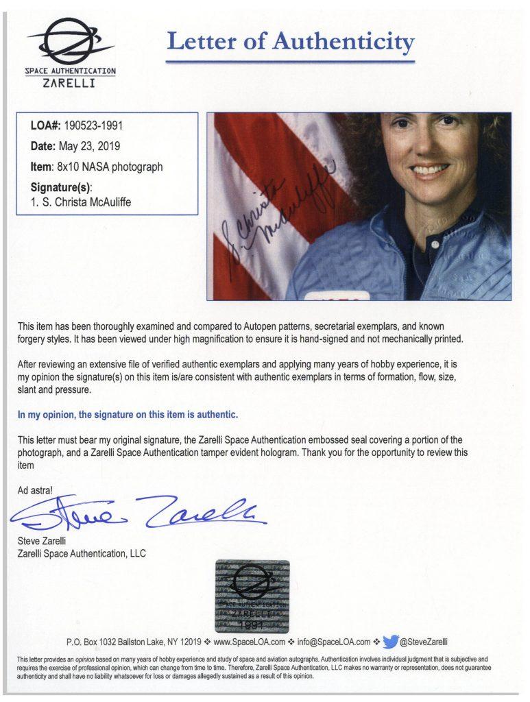 Christa McAuliffe Autograph