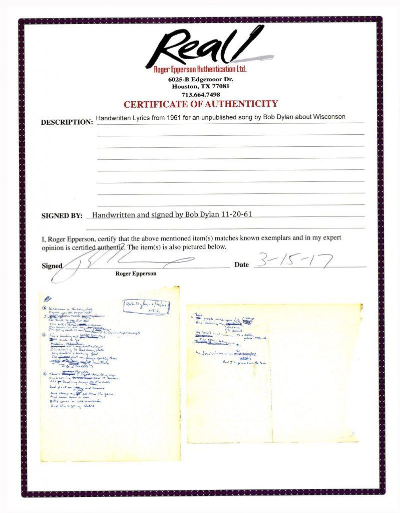 Kurt Cobain handwritten set list