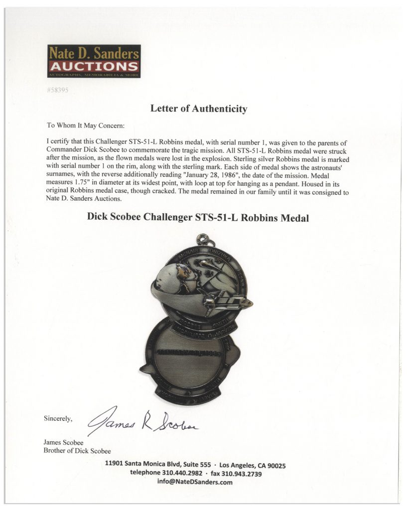 Challenger STS-51L Robbins medal