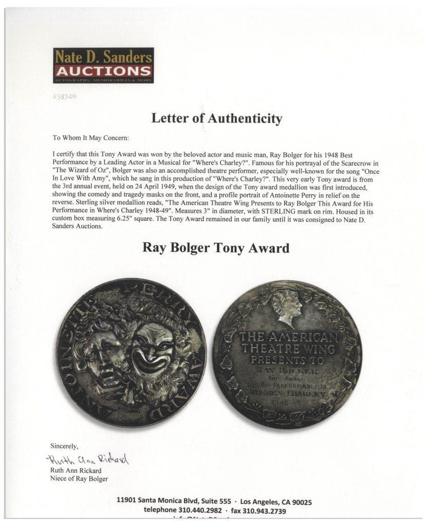 Ray Bolger memorabilia