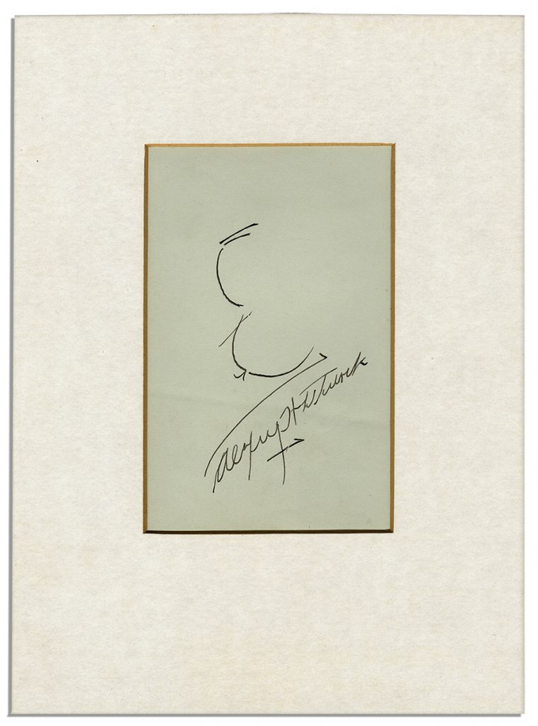 Alfred Hitchcock sketch signed